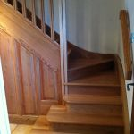 Oak staircase with square chamfered newel post and spindals and Oak side panelling